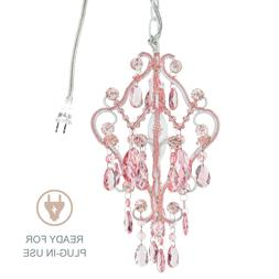 1-Light Mini Pink Crystal Chandelier Small Plug In Swag Girl