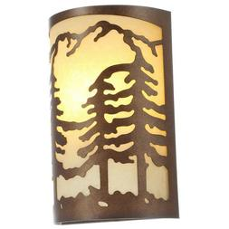 1-Light Natural Antler Wall Sconce Pine Tree Rustic Cabin Lo