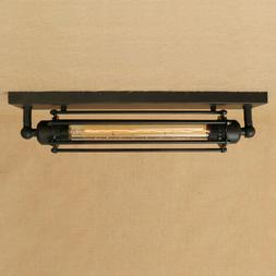 11.8'' Wide Industrial Black Wrought Iron Tube Flush Mount C