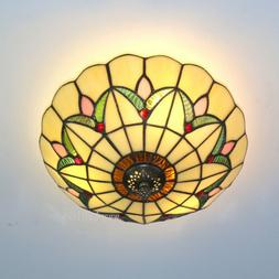 """16"""" Beige Tiffany Style Flush Mount Ceiling Light Stained Gl"""
