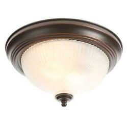 2-Light Flush Mount Ceiling Fixture Oil-Rubbed Bronze Round