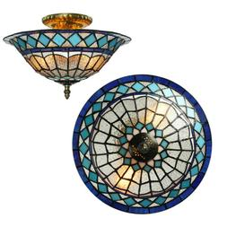 2-Light Retro Stained Glass Lamp Tiffany Style Ceiling Light