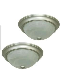 Project Source 2-Pack 13-in W Satin Nickel Ceiling Flush Mou