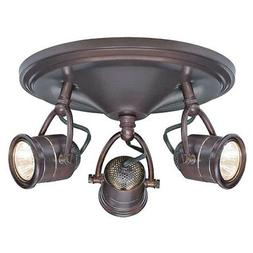 3-Light Track Lighting Antique Bronze Round-Base Pinhole Cei