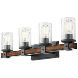 Kichler 4-Light Barrington 9-in Distressed Black and Wood Cy