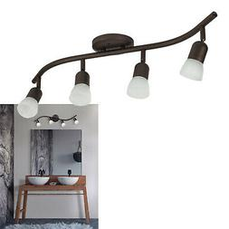 4 Light Track Lighting Wall or Ceiling Fixture Adjustable, O