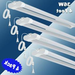 4 Pack 36W Double Tube Light Fixture LED Shop Light for Gara