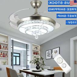 """42"""" Invisible Remote Ceiling Fan Crystal Light Living Room C"""