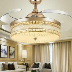 "42""Luxury Gold Remote Invisible Ceiling Fan Light Crystal LE"