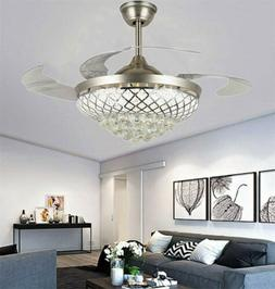 """42"""" Remote Retractable Ceiling Fans LED Light Crystal Silver"""