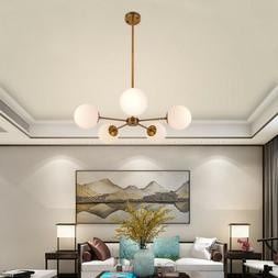 5-Light Metal Chandelier Pendant With White Frosted Globes L