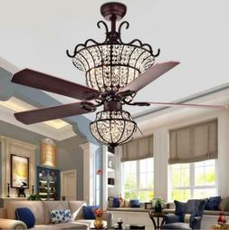 "52"" Reversible Blades Ceiling Fan with Light Crystal Chandel"