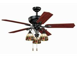 "52"" Tiffany Style 3 Light Ceiling Fan New! Glass Globe Fixtu"