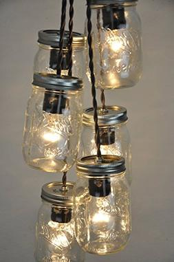 6 Mason Jar Chandelier Pendant Light Fixture Polished Nickel