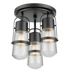 "Globe Electric 60335 Dark Bronze Helm 3-Light 11""W Flush Mou"