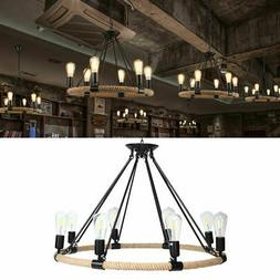 8-Head Ceiling Chandelier Light Vintage Steampunk Pendant La