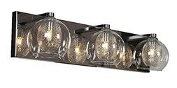 Aeria - 3-Light Vanity - Chrome Finish - Clear Glass Shade