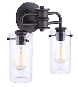 Canarm Albany 2 Light Vanity Light with Clear Glass - Oil Ru