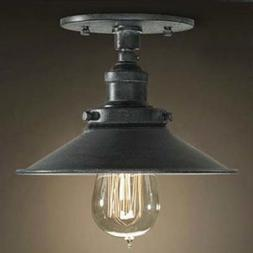 Antique Black 1 Light Industrial Style Semi Flush Mount Ceil