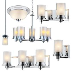 Avalon Polished Chrome Bathroom Vanity, Ceiling Lights & Cha