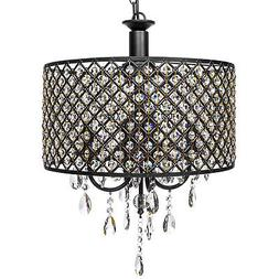 BCP Modern 4-Light Hanging Round Chandelier Fixture w/ Cryst
