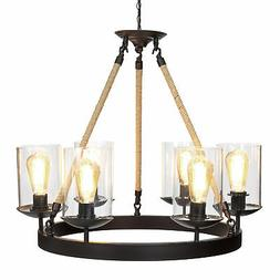 BCP Rope Design 6-Light Chandelier Pendant Lighting Fixture