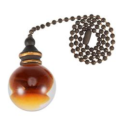 uxcell 12 inch Bronze Pull Chain Amber Ball Pendant for Ceil