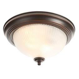 Hampton Bay Bronze Flush Mount Ceiling Light Fixture Frosted