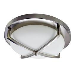 Ceiling 3 Light Fixture Flush Mount Brushed Nickel Alabaster