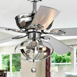Ceiling Fan with Lights Crystal Chandelier Light Fixture Rem