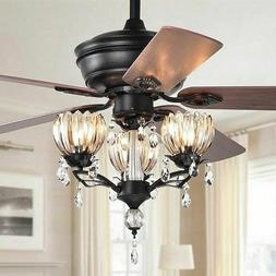 Crystal Chandelier Ceiling Fan Light Fixture Kit with Remote