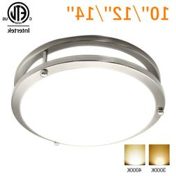 Dimmable LED Flush Mount Ceiling Light Fixture Silver Ring M