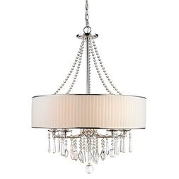 CLAXY Ecopower Lighting Crystal & Metal Drum Pendant Lightin
