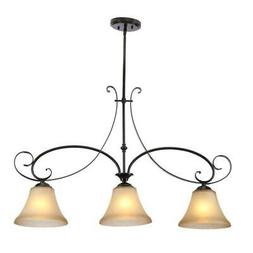 Hampton Bay Essex 3-Light Aged Black Island Pendant New Othe
