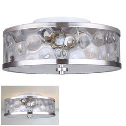 Flush Mount 3 Light Ceiling Fixture Watermark Glass Drum, Br