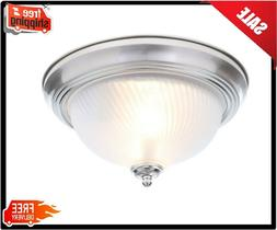 Flush Mount Ceiling LIght 2-Light Brushed Nickel Fixture Fro
