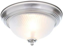 flush mount ceiling light 2 light brushed