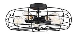 """Kira Home Gage 18"""" Industrial 5-Light Fan Style Metal Cage S"""