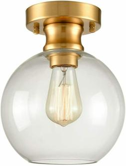 Gold Ceiling Light Fixture Flush Mount with Globe Glass Shad