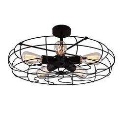 BAYCHEER HL371436 Industrial Vintage Wrought Iron Semi Flush