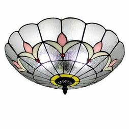 BAYCHEER HL455292 Tiffany Flush Mount Light Glass Shade Ceil