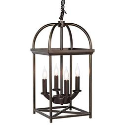 Home 4-Light Ceiling Chandelier Hanging Foyer Lantern W/ Bro