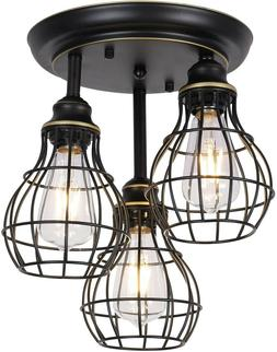 Industrial Cage Light Fixture Vintage Farmhouse Rustic Ceili