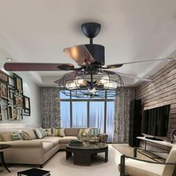 Industrial Ceiling Fan Light Semi Flush Ceiling Chandelier F