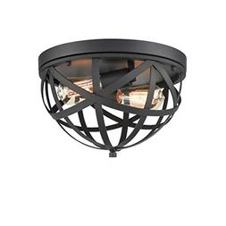 CLAXY Industrial Flush Mount Ceiling Light Black Dome Cage L