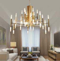 Industrial Gold Metal Ceiling Branch Chandelier Pendant Ligh
