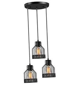 Industrial Pendant Lighting  E26 Base Edison Metal Caged Vin