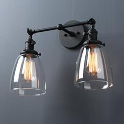 Phansthy Industrial Wall Sconce Fixture Vintage Style Clear