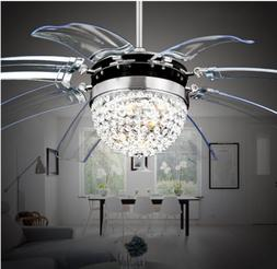 Remote Control Invisible Crystal Ceiling Fan Light Lamp Chan