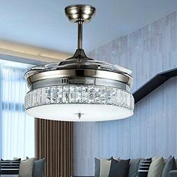 Invisible Silver Crystal Ceiling Fan Light Dining Room Muted
